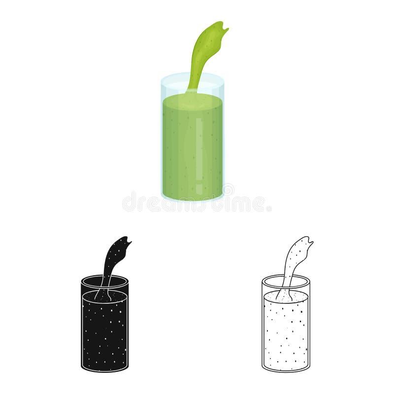 Illustrazione di vettore dell'icona dell'alga e del frullato Metta del frullato e dell'icona verde di vettore per le azione illustrazione di stock