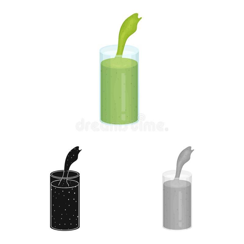 Illustrazione di vettore dell'icona dell'alga e del frullato Raccolta del frullato ed icona verde di vettore per le azione royalty illustrazione gratis