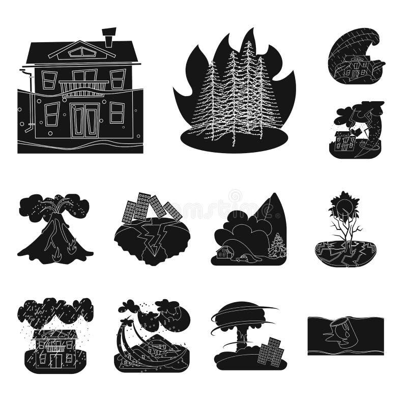Illustrazione di vettore dell'icona di arresto e di calamità Raccolta dell'icona di vettore di disastro e di calamità per le azio royalty illustrazione gratis