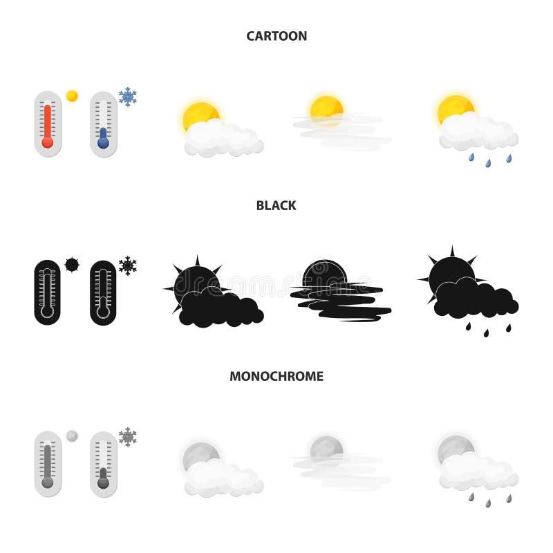 Illustrazione di vettore dell'icona di clima e del tempo Insieme dell'icona di vettore della nuvola e del tempo per le azione royalty illustrazione gratis