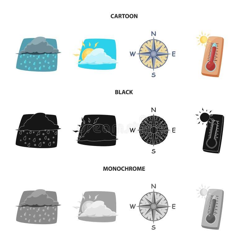 Illustrazione di vettore dell'icona di clima e del tempo Insieme dell'icona di vettore della nuvola e del tempo per le azione illustrazione vettoriale