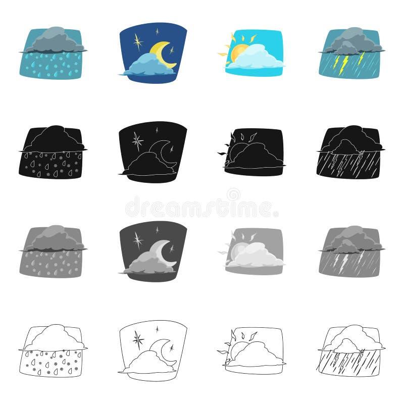 Illustrazione di vettore dell'icona di clima e del tempo Insieme dell'icona di vettore della nuvola e del tempo per le azione illustrazione di stock