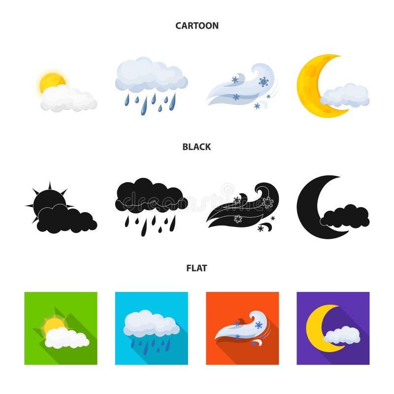 Illustrazione di vettore dell'icona di clima e del tempo Raccolta dell'icona di vettore della nuvola e del tempo per le azione illustrazione vettoriale
