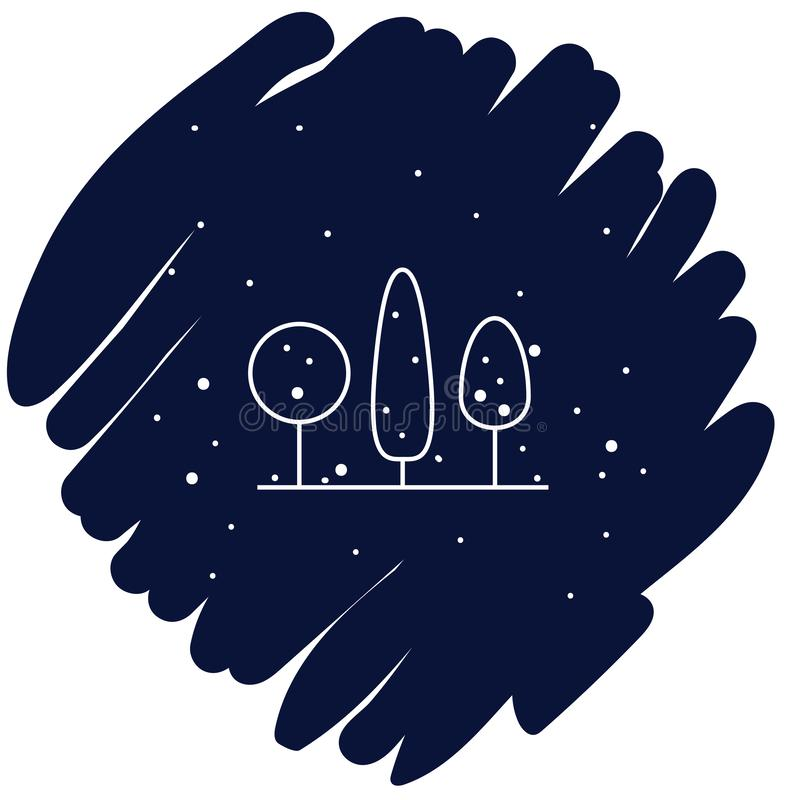 Illustrazione di vettore dell'icona degli alberi di inverno su fondo blu illustrazione di stock