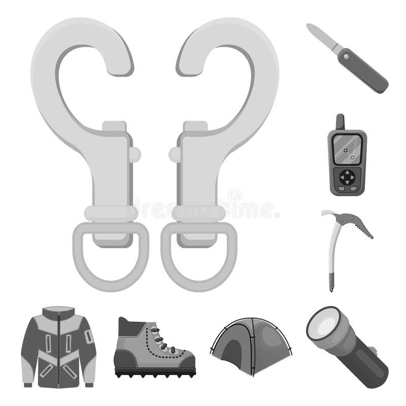 Illustrazione di vettore dell'icona del picco e di alpinismo Raccolta del simbolo di riserva del campo e di alpinismo per il web illustrazione di stock