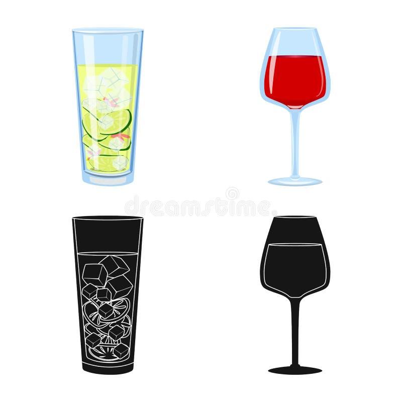 Illustrazione di vettore dell'icona del ristorante e del liquore Raccolta dell'illustrazione di vettore delle azione dell'ingredi royalty illustrazione gratis