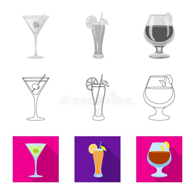Illustrazione di vettore dell'icona del ristorante e del liquore Raccolta dell'icona di vettore dell'ingrediente e del liquore pe illustrazione vettoriale