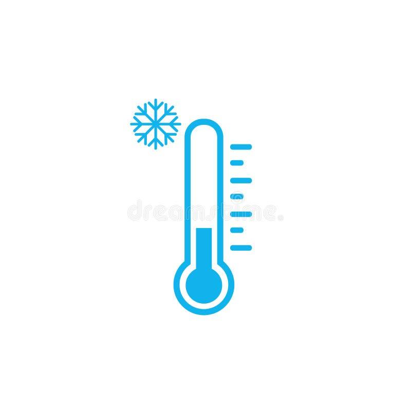 Illustrazione di vettore dell'icona del termometro del freddo su fondo bianco Elemento piano di web design per il sito Web, app o royalty illustrazione gratis