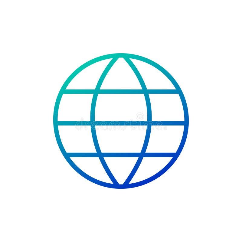 Illustrazione di vettore dell'icona di griglia della terra del globo Simbolo lineare con il profilo sottile Colpo editabile Illus royalty illustrazione gratis