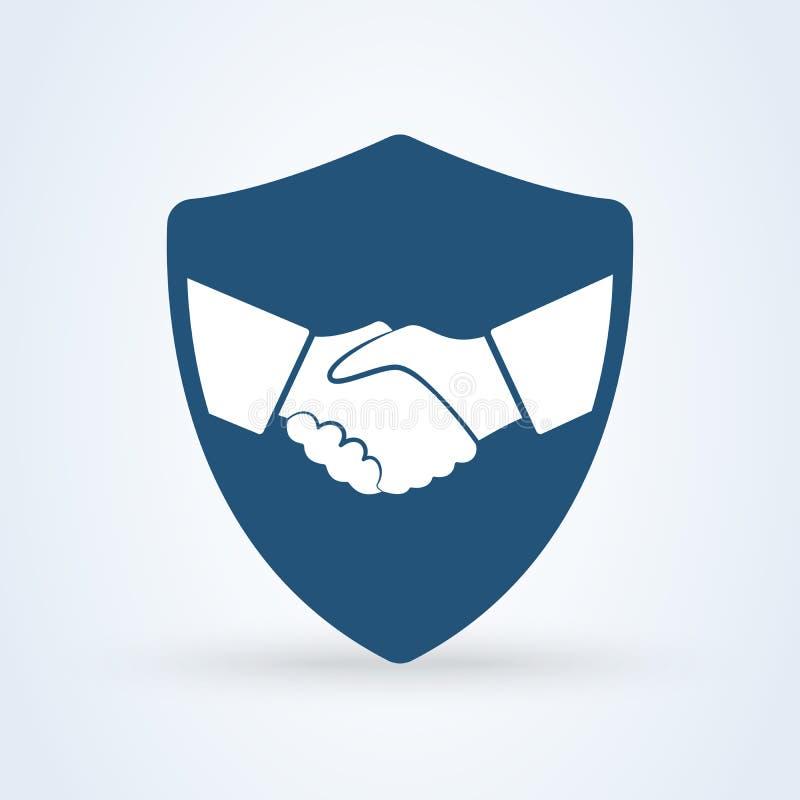 Illustrazione di vettore dell'icona di sicurezza dello schermo della stretta di mano Affare di impegno illustrazione di stock