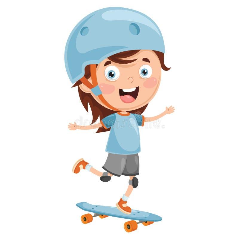 Illustrazione di vettore dell'imbarco del pattino del bambino royalty illustrazione gratis