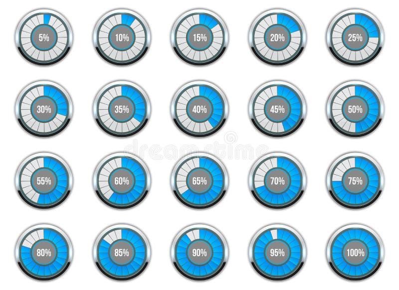 Illustrazione di vettore dell'indicatore di stato rotondo Stato degli indicatori del cerchio Insieme dell'icona di percentuale di royalty illustrazione gratis