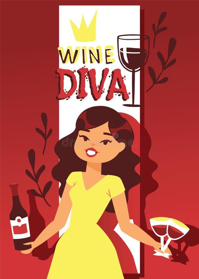 Illustrazione di vettore dell'insegna dell'amante di vino Carattere femminile allegro del fumetto con capelli ricci in vestito co illustrazione vettoriale
