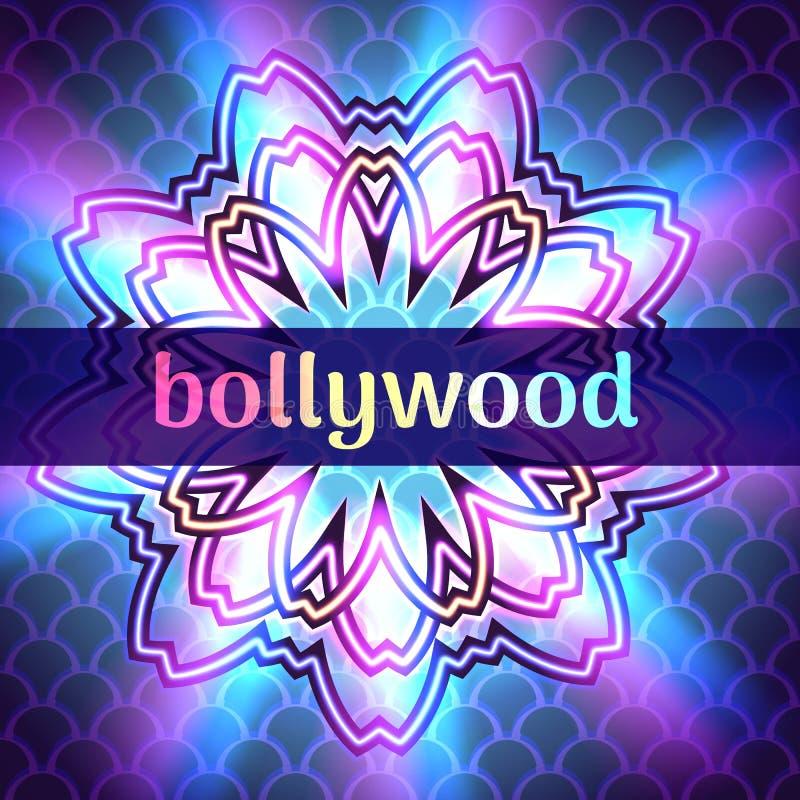 Illustrazione di vettore dell'insegna di Bollywood della pubblicità del modello sul fondo rotondo dell'ornamento della mandala, b illustrazione vettoriale