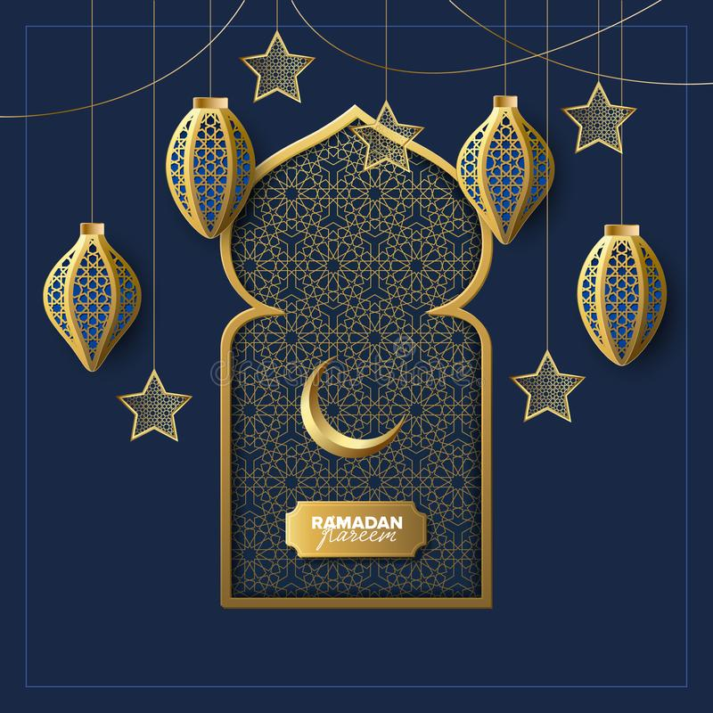Illustrazione di vettore dell'insegna di concetto di festa di Ramadan Kareem royalty illustrazione gratis