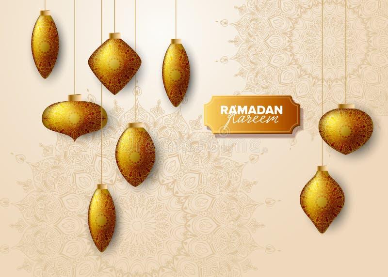 Illustrazione di vettore dell'insegna di concetto di festa di Ramadan Kareem illustrazione vettoriale