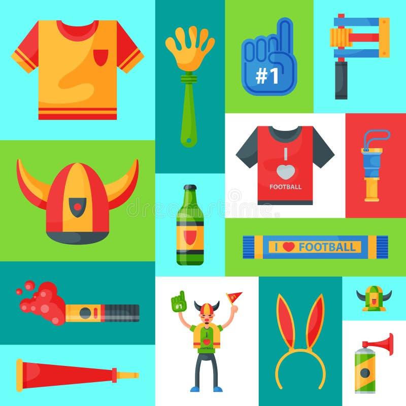 Illustrazione di vettore dell'insegna del sostenitore della squadra di football americano Attributo del tifoso di calcio, accesso royalty illustrazione gratis