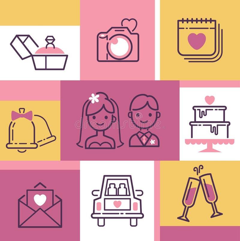 Illustrazione di vettore dell'insegna delle icone di nozze Accessori per la celebrazione Sposa e sposo, dolce, anello di fidanzam illustrazione vettoriale