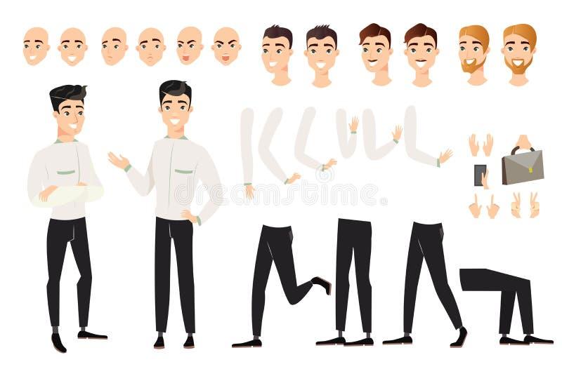 Illustrazione di vettore dell'insieme bello dell'uomo con le varie posizioni delle parti del corpo Carattere maschio del fumetto  royalty illustrazione gratis