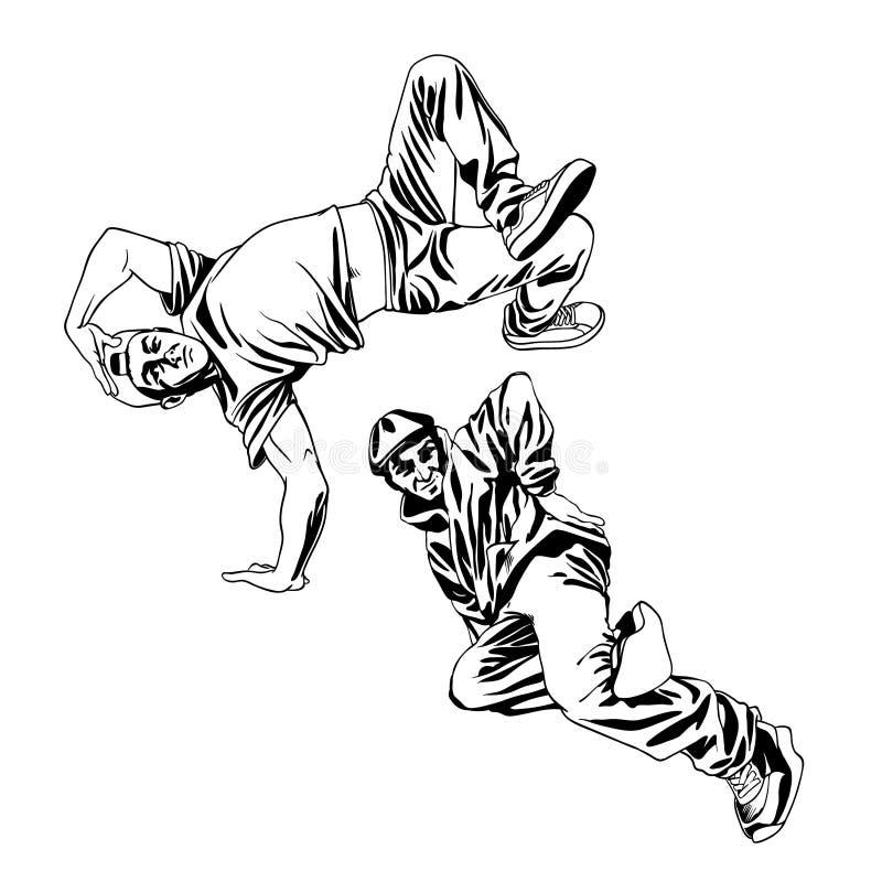 illustrazione di vettore dell'insieme dei caratteri dei ballerini dei B-ragazzi royalty illustrazione gratis