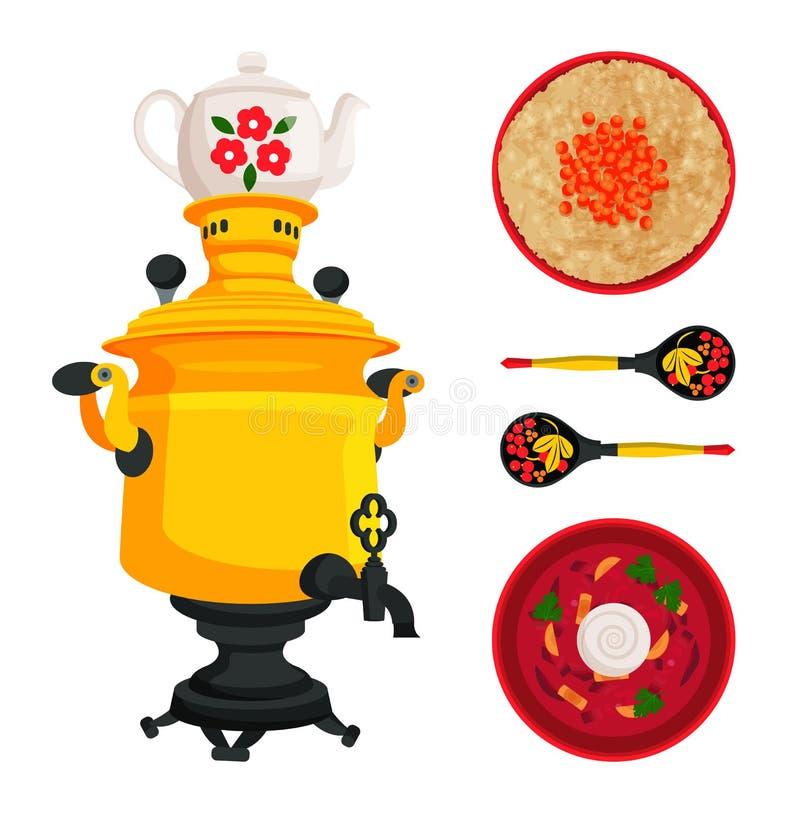 Illustrazione di vettore dell'insieme del piatto del borshch e della samovar illustrazione di stock