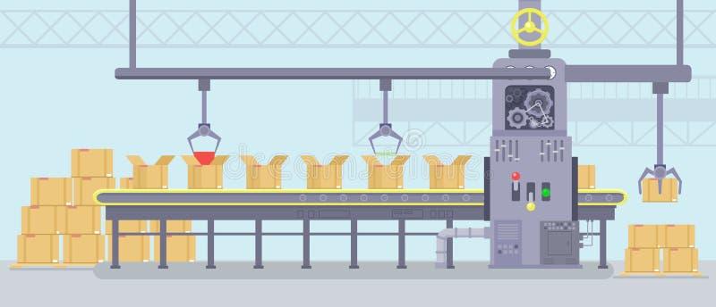 Illustrazione di vettore dell'interno di fabbricazione con il lavoro della macchina astuta con il nastro trasportatore di produzi illustrazione vettoriale