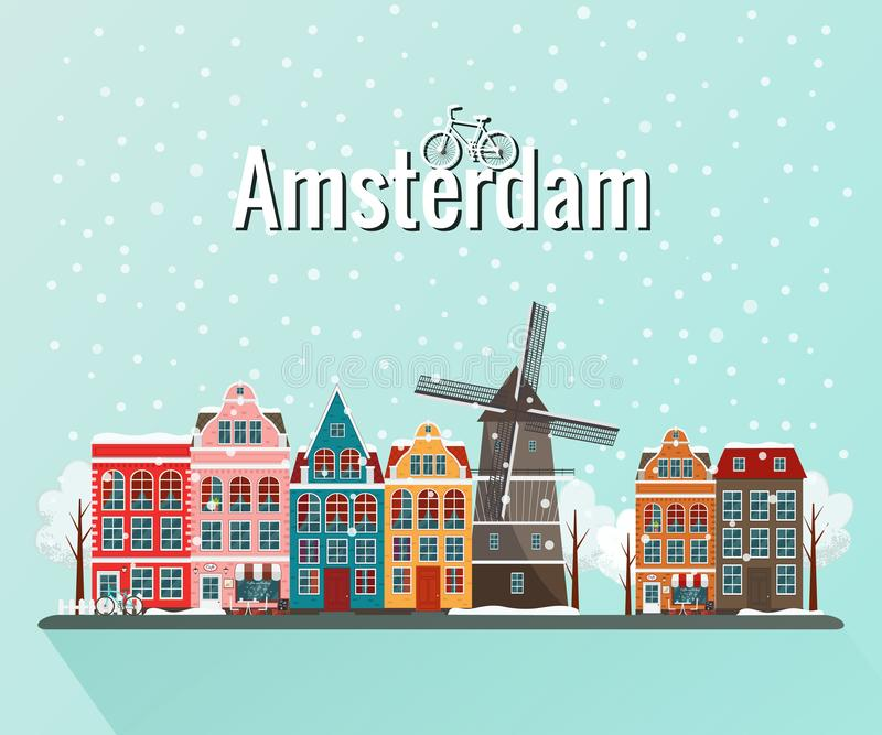 Illustrazione di vettore dell'inverno Amsterdam royalty illustrazione gratis