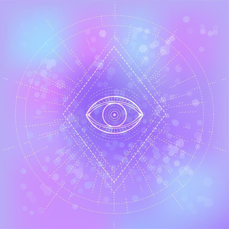 Illustrazione di vettore dell'occhio mistico di simbolo su fondo astratto illustrazione di stock