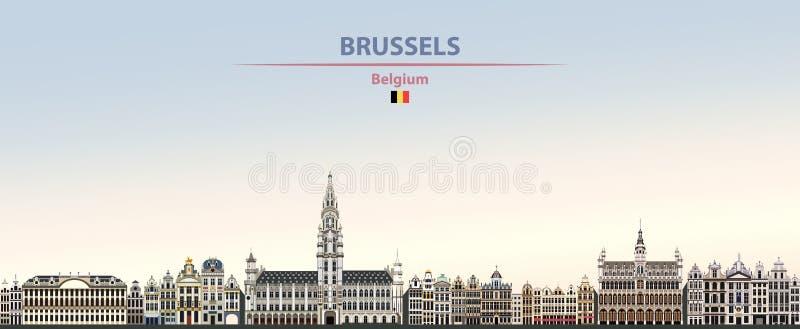 Illustrazione di vettore dell'orizzonte della città di Bruxelles sul bello fondo del cielo di giorno di pendenza variopinta royalty illustrazione gratis