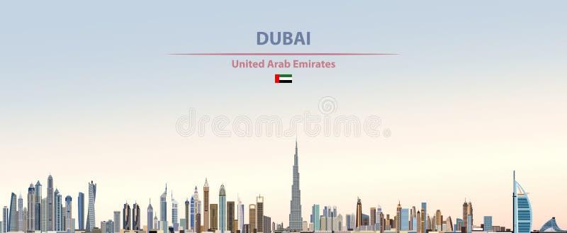 Illustrazione di vettore dell'orizzonte della città del Dubai sul bello fondo del cielo di giorno di pendenza variopinta illustrazione vettoriale