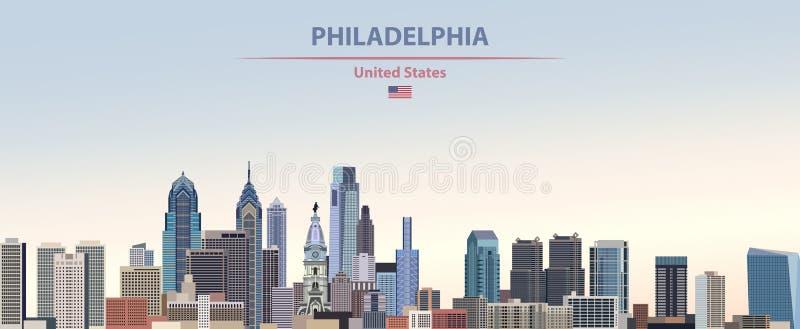 Illustrazione di vettore dell'orizzonte della città di Filadelfia sul bello fondo del cielo di giorno di pendenza variopinta con  illustrazione vettoriale