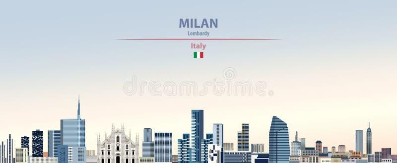 Illustrazione di vettore dell'orizzonte della città di Milano sul bello fondo del cielo di giorno di pendenza variopinta con la b illustrazione di stock
