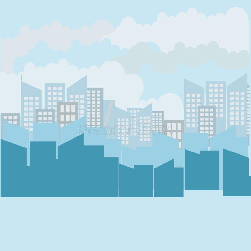 Illustrazione di vettore dell'orizzonte della città Paesaggio urbano Paesaggio urbano di giorno nello stile piano royalty illustrazione gratis