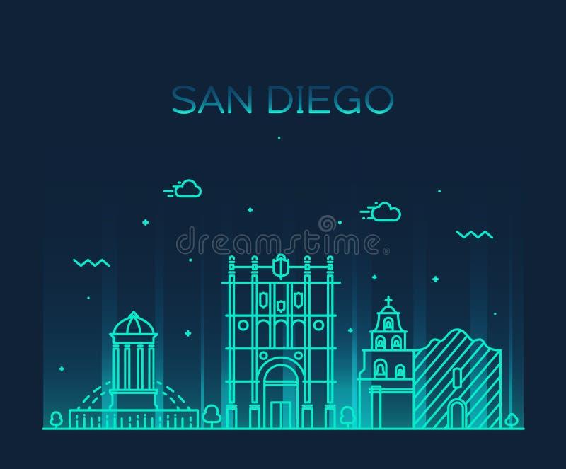 Illustrazione di vettore dell'orizzonte di San Diego lineare illustrazione vettoriale