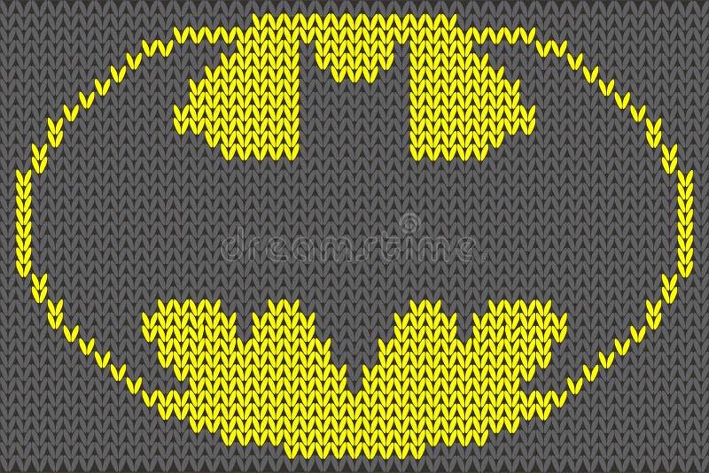 Illustrazione di vettore dell'ornamento tricottata logo di Batman illustrazione di stock