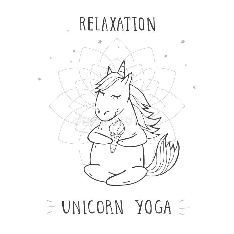Illustrazione di vettore dell'unicorno di seduta sveglio disegnato a mano con le stelle e l'YOGA dell'UNICORNO di RILASSAMENTO de illustrazione vettoriale