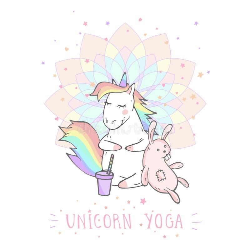 Illustrazione di vettore dell'unicorno sveglio disegnato a mano con il giocattolo del coniglietto, il caffè ed il testo - YOGA de royalty illustrazione gratis