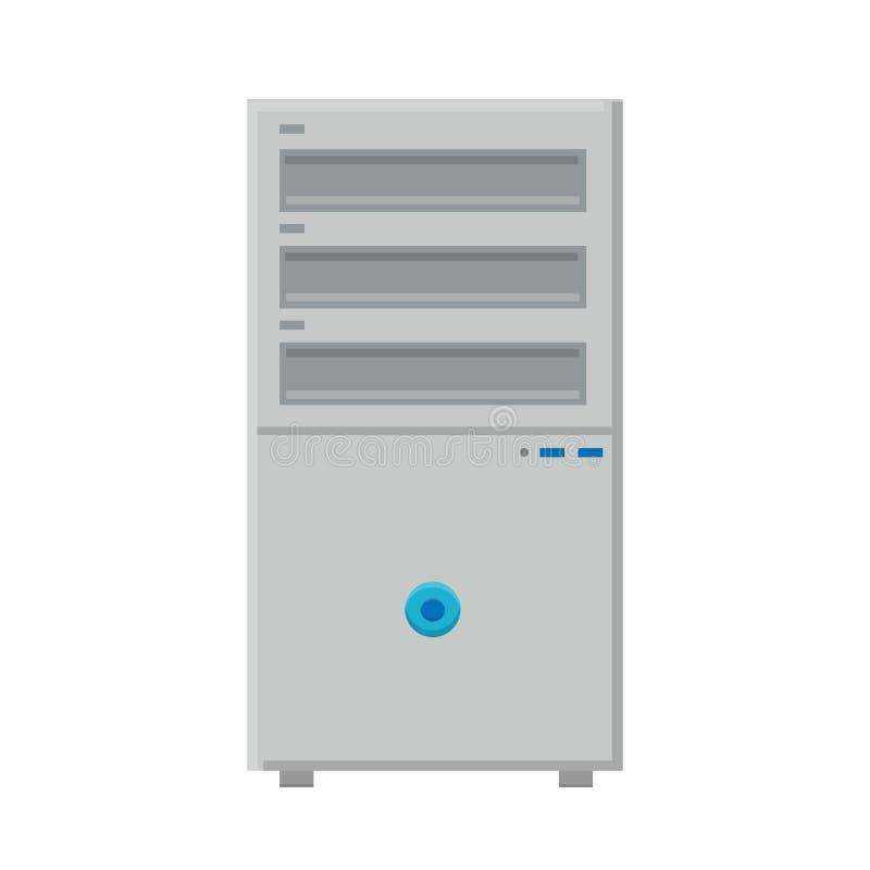 Illustrazione di vettore dell'unità di sistema digitale digitale moderna semplice dell'icona piana bianca del computer fisso isol illustrazione di stock