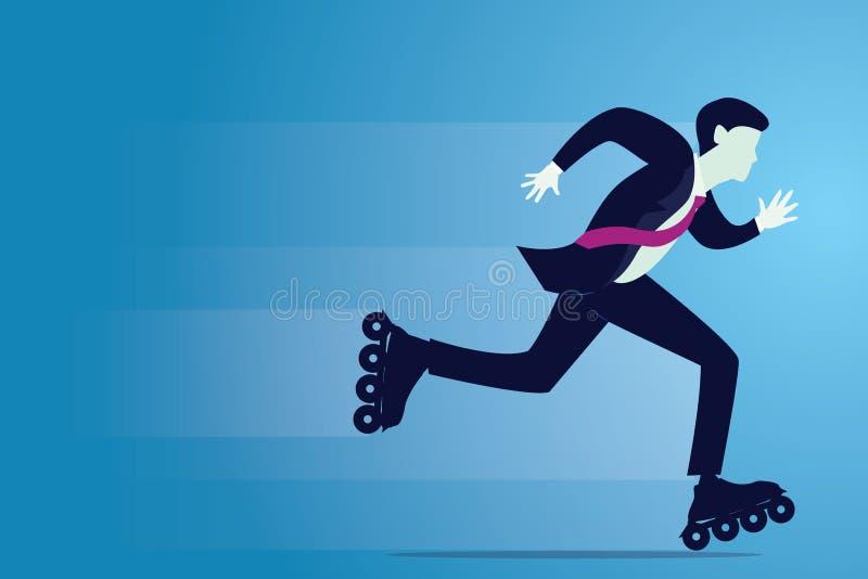 Illustrazione di vettore dell'uomo d'affari che pattina con la lama del rullo illustrazione vettoriale