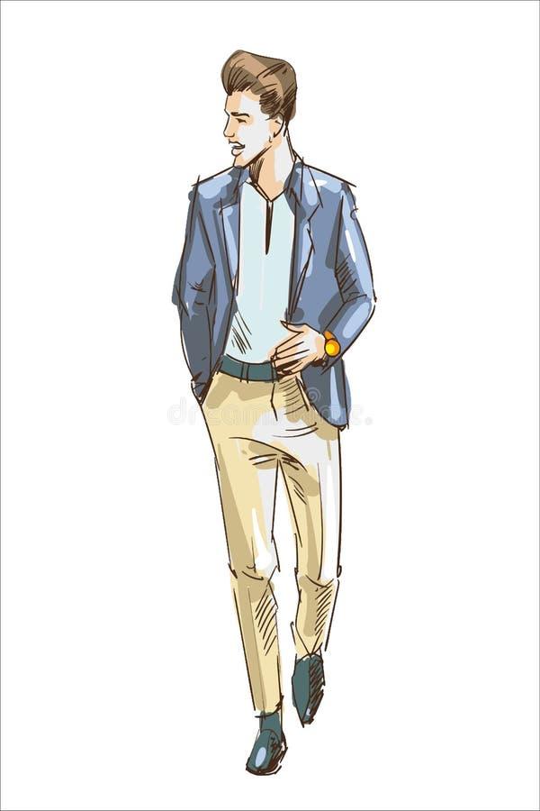 Illustrazione di vettore dell'uomo di modo Adatti l'uomo con il rivestimento casuale moderno della luce e di taglio di capelli Sc illustrazione vettoriale