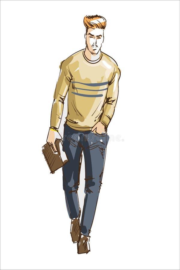 Illustrazione di vettore dell'uomo di modo Adatti l'uomo con stile di capelli moderno ed il maglione e la borsa casuali del lethe royalty illustrazione gratis