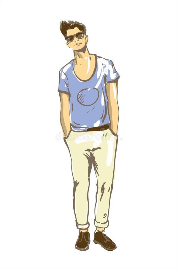 Illustrazione di vettore dell'uomo di modo Adatti l'uomo in stile di capelli moderno di vetro di sole e maglietta blu Schizzo del royalty illustrazione gratis