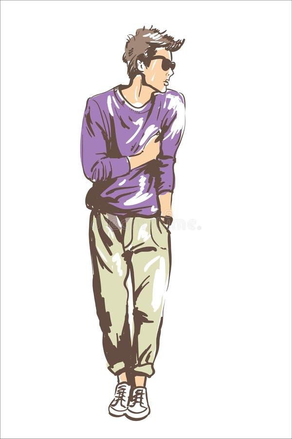 Illustrazione di vettore dell'uomo di modo Adatti l'uomo in stile di capelli moderno di vetro di sole e maglione viola Tipo del m royalty illustrazione gratis