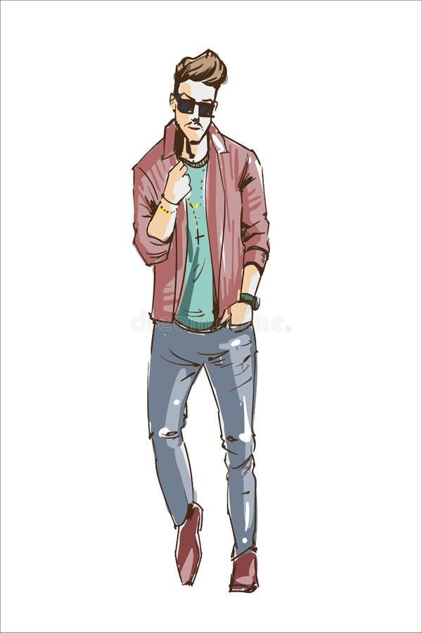 Illustrazione di vettore dell'uomo di modo Adatti l'uomo in vestiti di stile di capelli moderno di vetro di sole e di colori past royalty illustrazione gratis