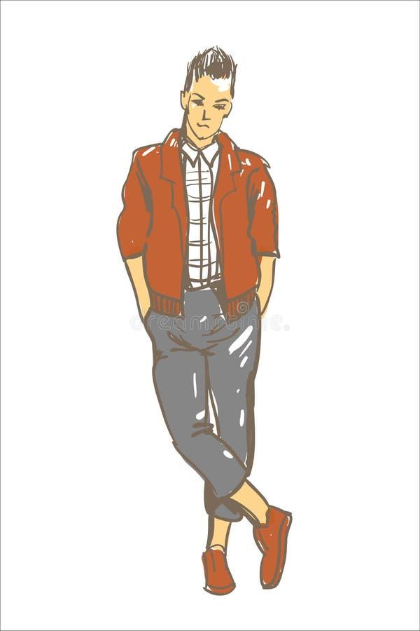 Illustrazione di vettore dell'uomo di modo Uomo di modo in rivestimento marrone casuale Schizzo del tipo del modello di moda royalty illustrazione gratis