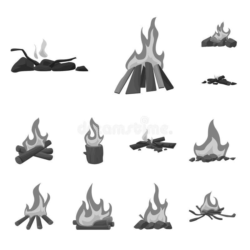 Illustrazione di vettore dell'ustione e dell'icona all'aperto Raccolta dell'ustione e del simbolo di riserva di turismo per il we royalty illustrazione gratis