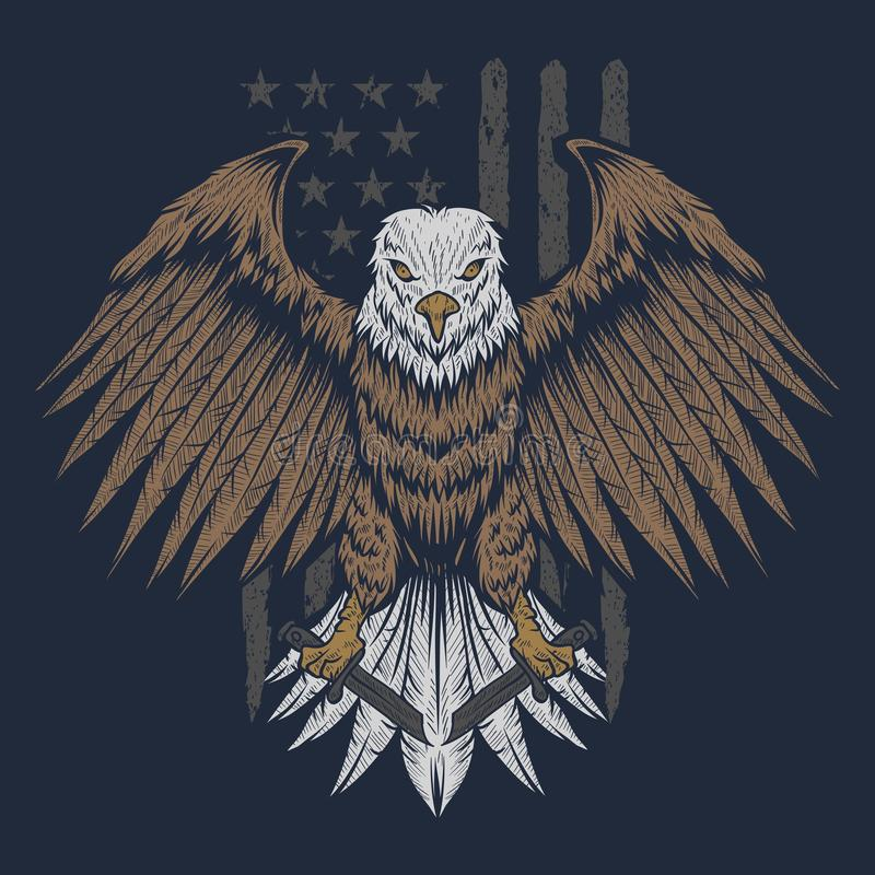 Illustrazione di vettore della bandiera di Eagle S.U.A. royalty illustrazione gratis