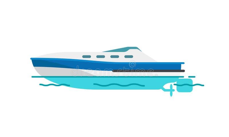 Illustrazione di vettore della barca a vela dell'imbarcazione a motore isolata illustrazione di stock