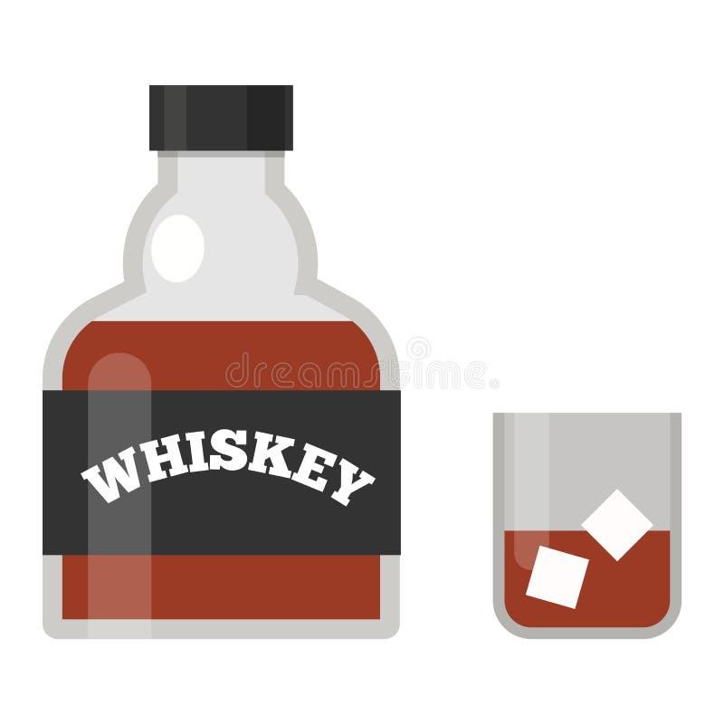 Illustrazione di vettore della bottiglia di whiskey illustrazione vettoriale