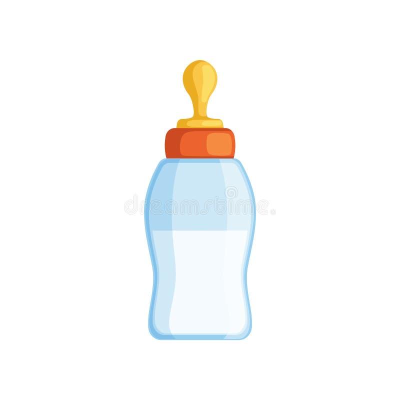 Illustrazione di vettore della bottiglia per il latte del bambino su un fondo bianco royalty illustrazione gratis